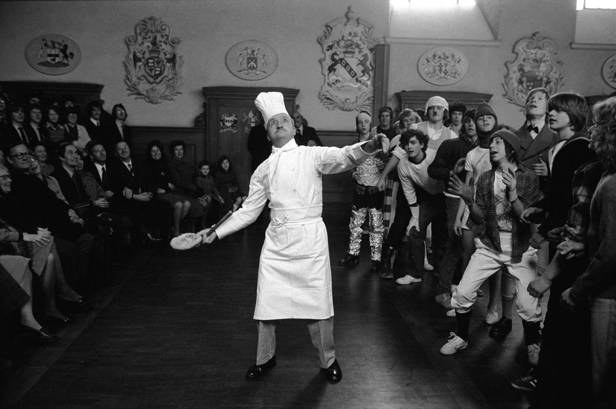 Westminster School annual Shrove Tuesday Pancake Greaze. Westmin