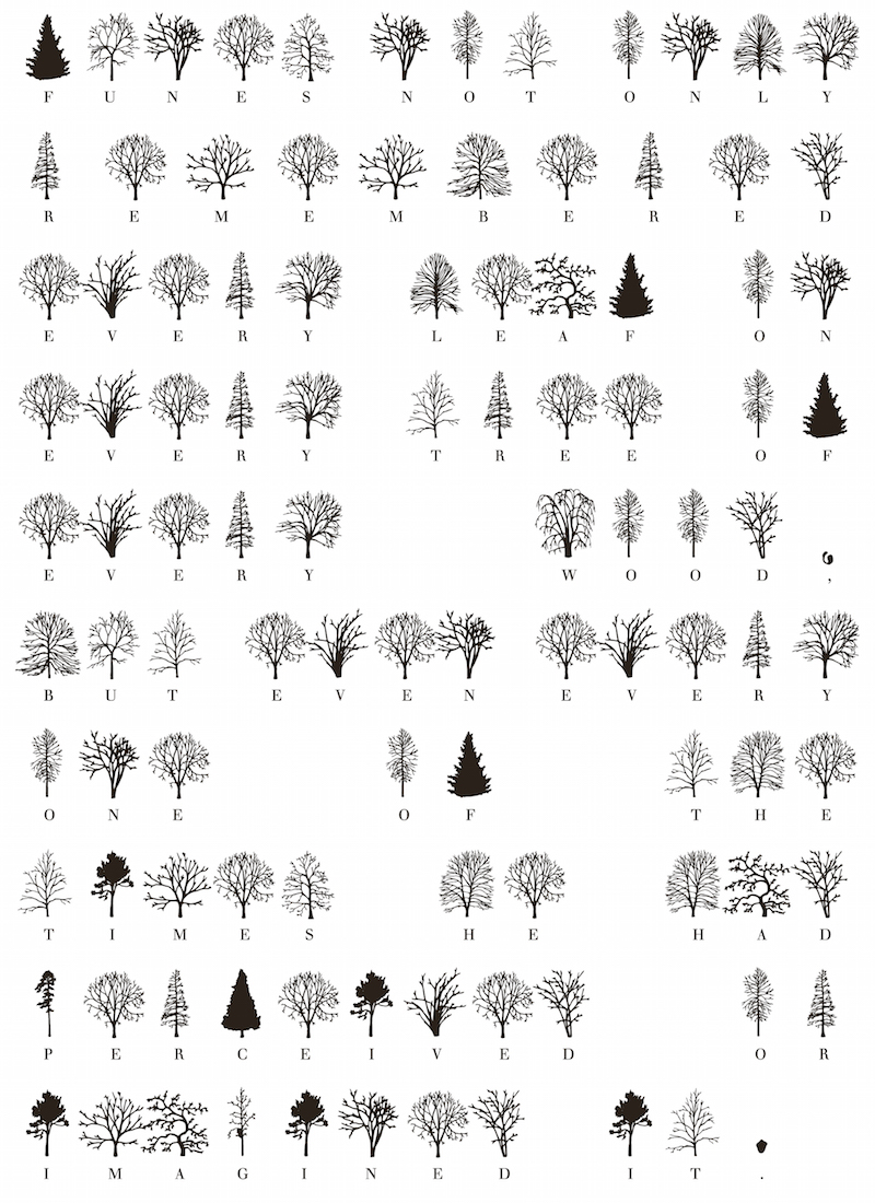 """A sentence from Jorge Luis Borges's short story """"Funes el memorioso"""" typeset in Trees."""