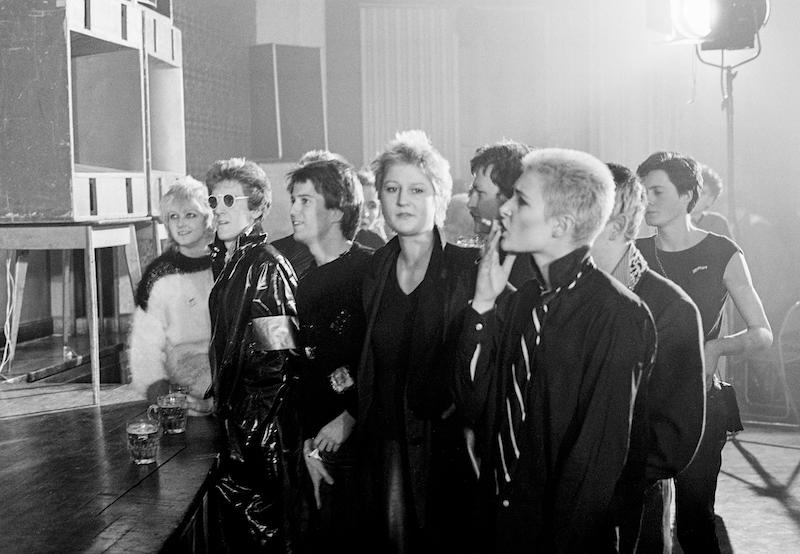 Viv Albertine, Steve Severin, Kenny Morris, Sarah Hall, and Siouxsie Sioux at The Sex Pistols concert, Notre Dame de France, 15 November, 1976.