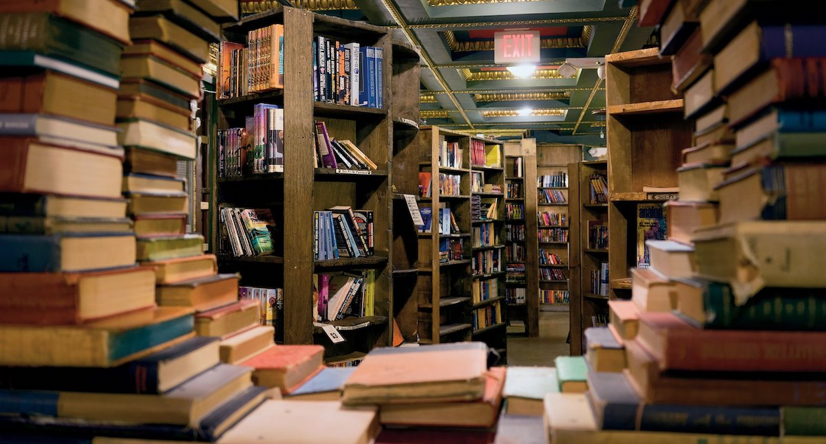 The inside of a book store.