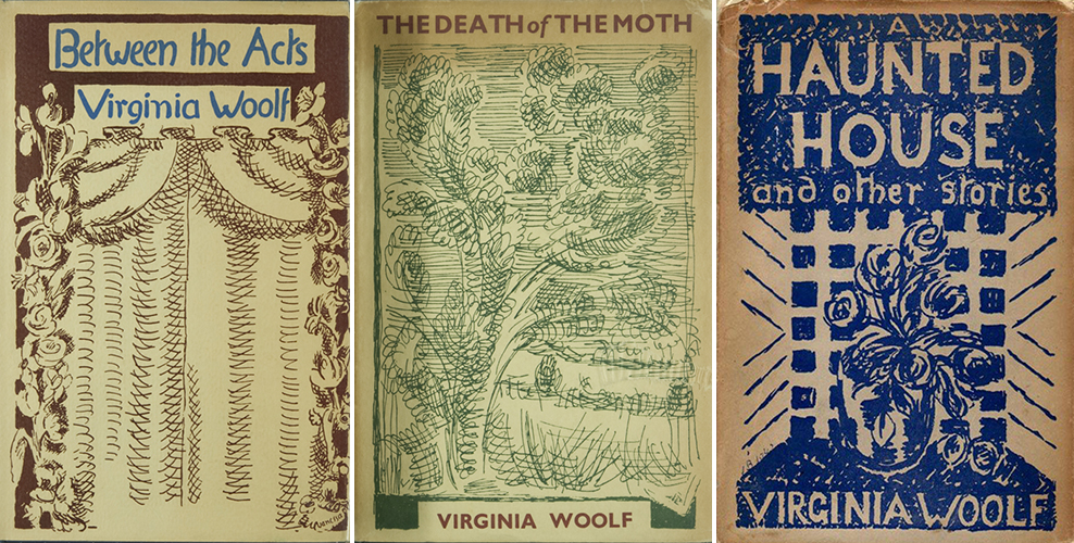 Between the Acts (1941), The Death of the Moth and Other Essays (1942), A Haunted House and Other Short Stories (1943); design by Vanessa Bell
