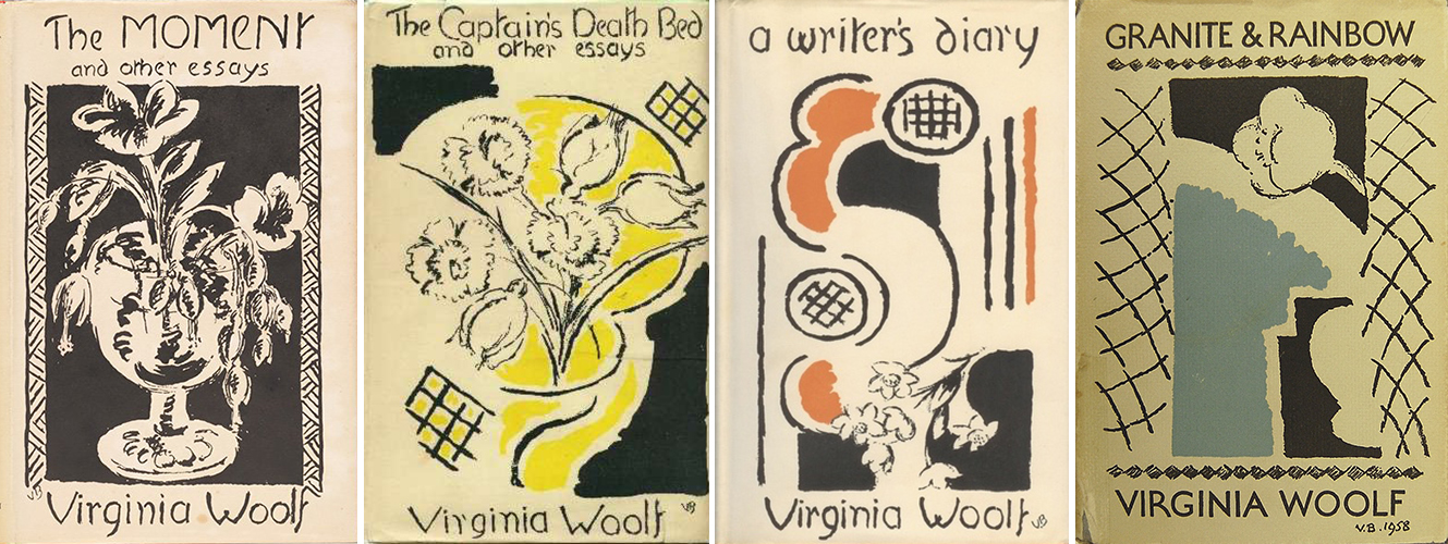 The Moment and Other Essays (1947), The Captain's Death Bed and Other Essays (1950), A Writer's Diary (1953), Granite and Rainbow (1958); design by Vanessa Bell