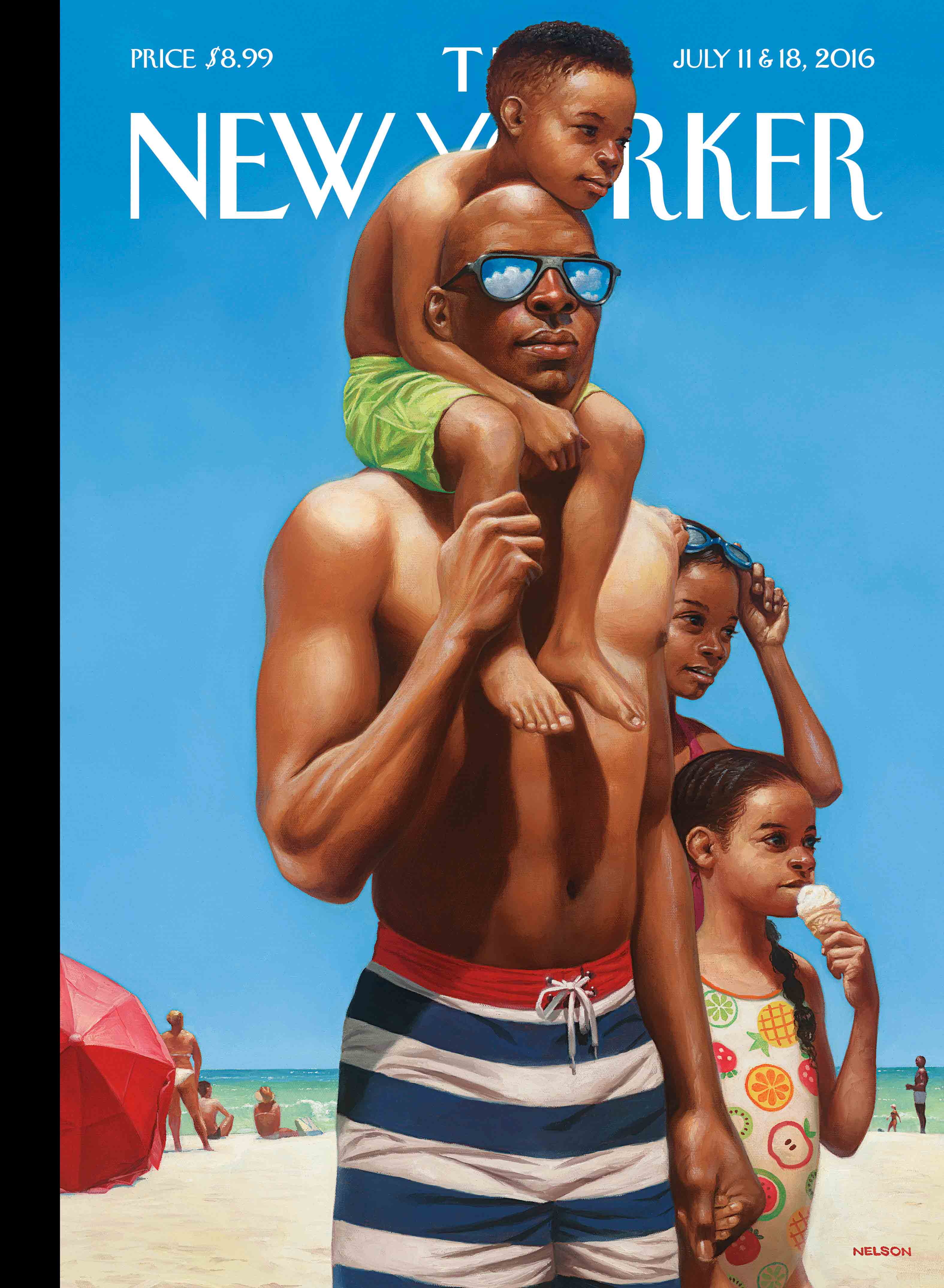 """A Day at the Beach,"" by Kadir Nelson, July 11 & 18, 2016"