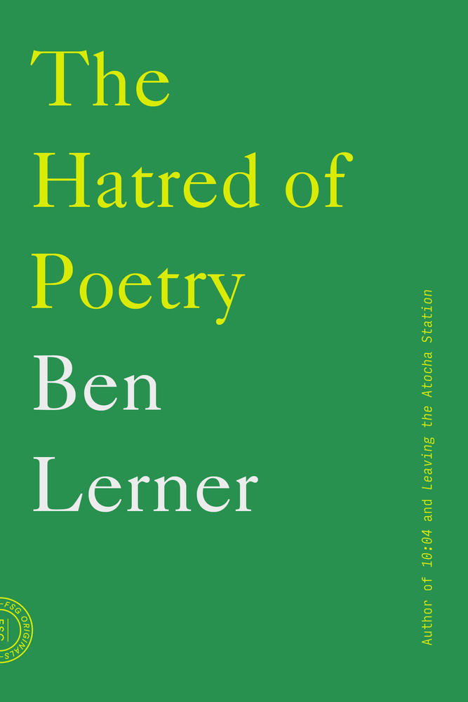hatred of poetry lerner