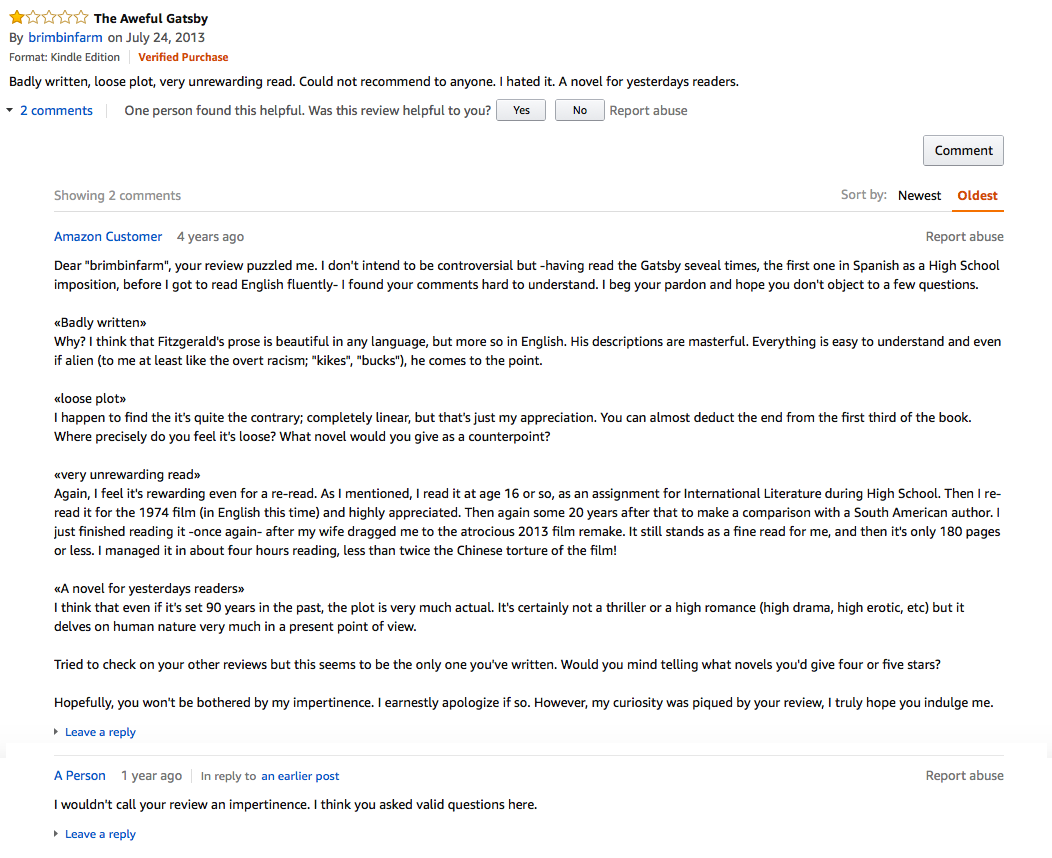 The 100 Best One-Star Amazon Reviews of The Great Gatsby | Literary Hub