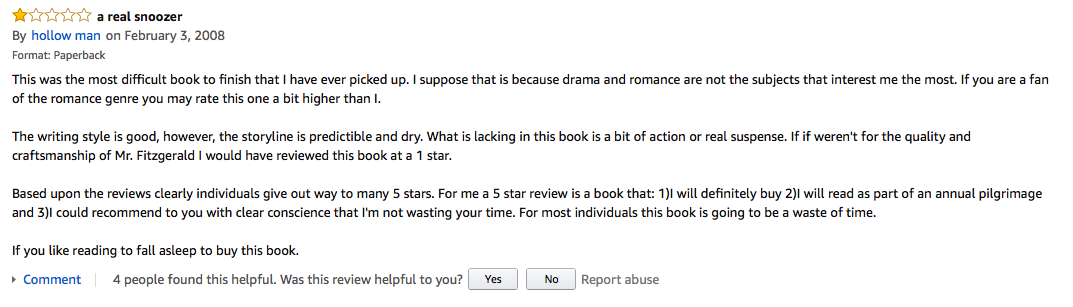 The  Best Onestar Amazon Reviews Of The Great Gatsby  Literary Hub Article Continues After Advertisement