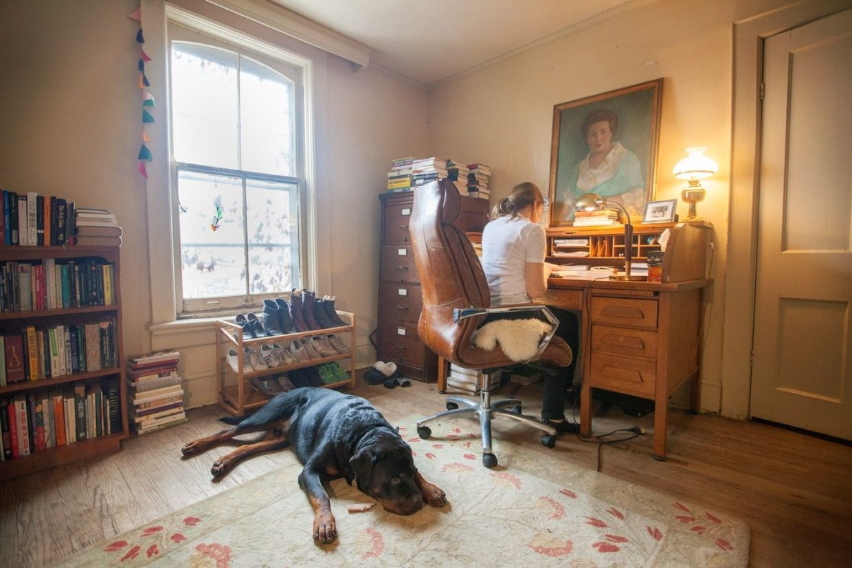 Sheila Heti at her desk with her dog