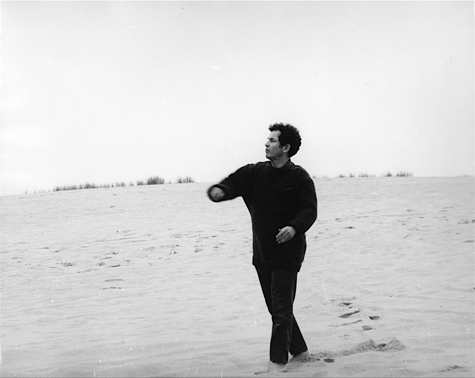 Norman Mailer on the Beach in Provincetown
