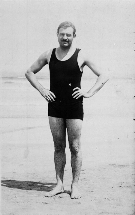 Ernest Hemingway on the beach