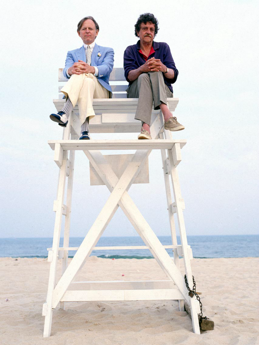 Tom Wolfe and Kurt Vonnegut, playing lifeguards