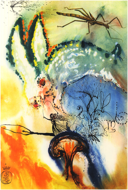 """""""Down the Rabbit Hole"""" (Alice and the White Rabbit), by Salvador Dalí, 1969"""
