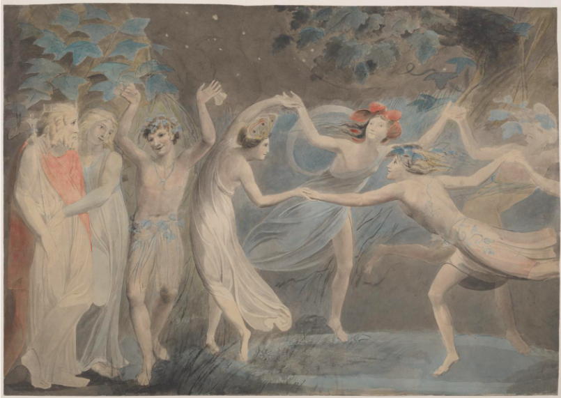 """""""Oberon, Titania and Puck with Fairies Dancing,"""" by William Blake, c.1786"""