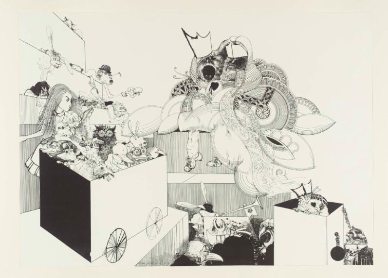 """Courtroom Scene from Alice in Wonderland,"" by Ralph Steadman, 1967"