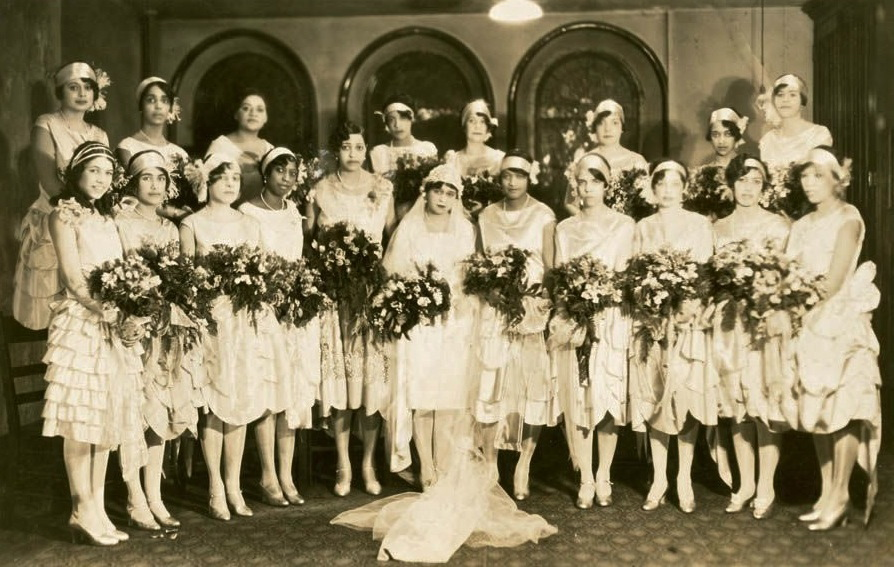 Yolande Du Bois and many bridesmaids