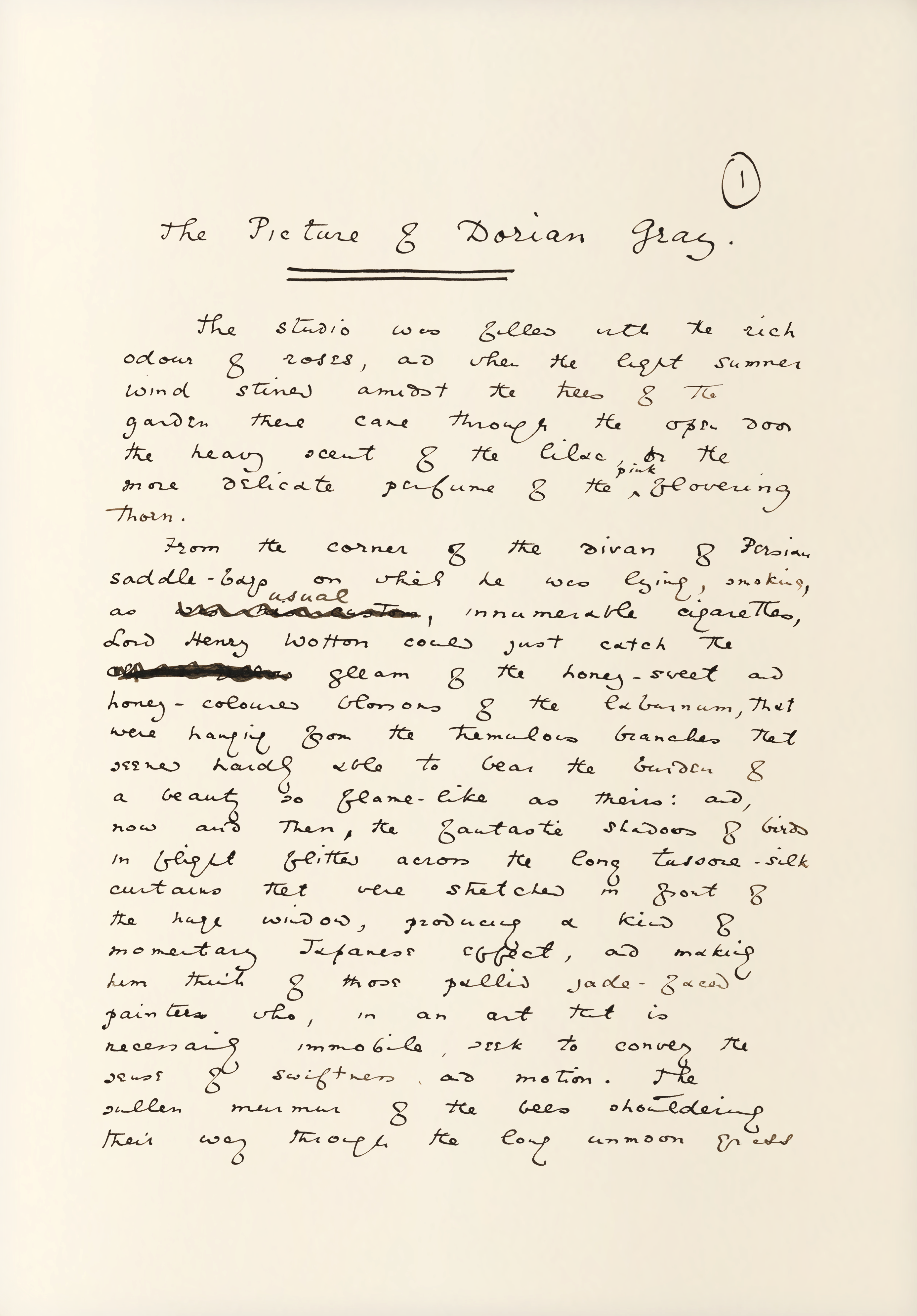 Apa Essay Paper See Oscar Wildes Handwritten Edits To The Picture Of Dorian Gray Essay Writings In English also Descriptive Essay Topics For High School Students See Oscar Wildes Handwritten Edits To The Picture Of Dorian Gray  Business Essays Samples