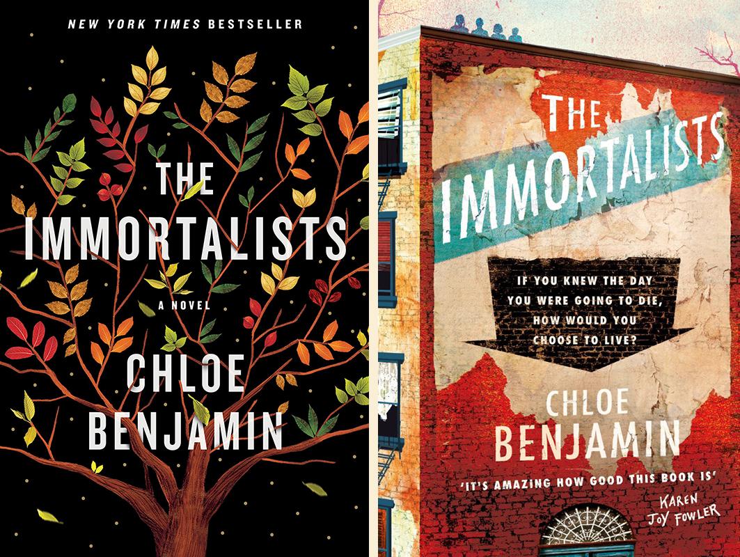 Chloe Benjamin, <em>The Immortalists</em: US cover design by Sandra Chiu (Putnam); UK cover design by Yeti Lambregts (Tinder)