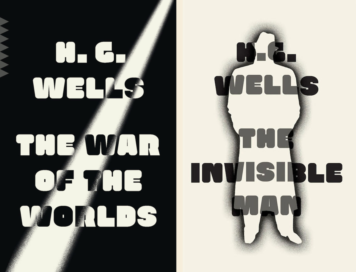 H. G. Wells, The War of the Worlds, and The Invisible Man, designed by Linda Huang (Vintage)