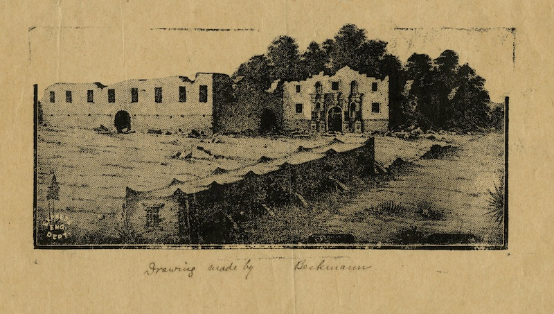 A print after John A. Beckmann's 1895 drawing depicting the Alamo in 1845