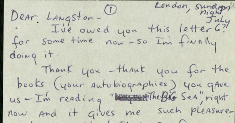 """""""Brother, you've got a fan now!"""" Read a letter from Nina Simone to Langston Hughes."""