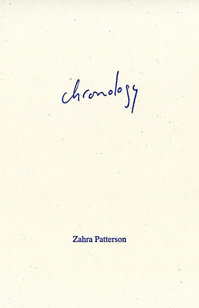 Chronology_Zahra Patterson