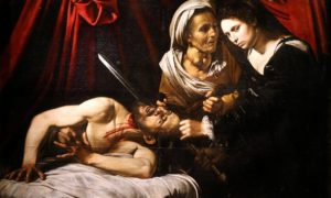 The painting Judith Beheading Holofernes at its presentation in Paris on April 12, 2016